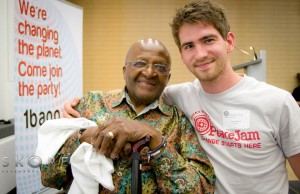 Luke Addison with Desmond Tutu